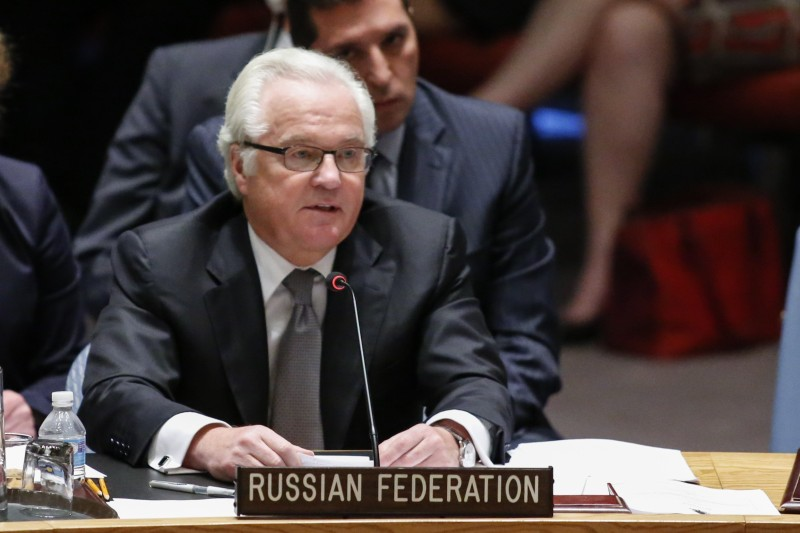 Vitaly Churkin  Russian Ambassador to the United Nations speaks after the vote on a draft resolution for establishing a tribunal to prosecute those responsible for the MH17 flight during a Security council meeting at the United Nations Headquarters in New York on July 29, 2015. Russia vetoed a United Nations Security Council resolution that sought to set up a special tribunal to try those responsible for shooting down flight MH17 over Ukraine. AFP PHOTO/ KENA BETANCUR        (Photo credit should read KENA BETANCUR/AFP/Getty Images)