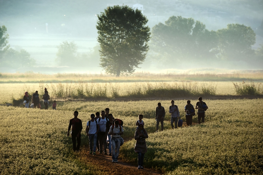 Migrants walk through a field to cross the border from Greece to Macedonia near the Greek village of Idomeni on August 29, 2015. The EU is grappling with an unprecedented influx of people fleeing war, repression and poverty in what the bloc has described as its worst refugee crisis in 50 years. AFP PHOTO / ARIS MESSINIS        (Photo credit should read ARIS MESSINIS/AFP/Getty Images)