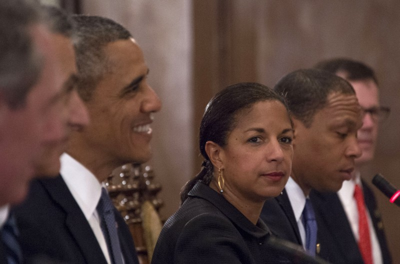 US National Security Advisor Susan Rice (C) looks on alongside US President Barack Obama (2nd L) during a bilateral meeting with Philippines President Benigo Aquino (not in picture) at Malacanang Palace in Manila on April 28, 2014.  Obama landed in the Philippines on April 28 to cement new defence ties on the last leg of an Asian tour conducted against a backdrop of territorial tensions between US allies and China.      AFP PHOTO / Jim WATSON        (Photo credit should read JIM WATSON/AFP/Getty Images)
