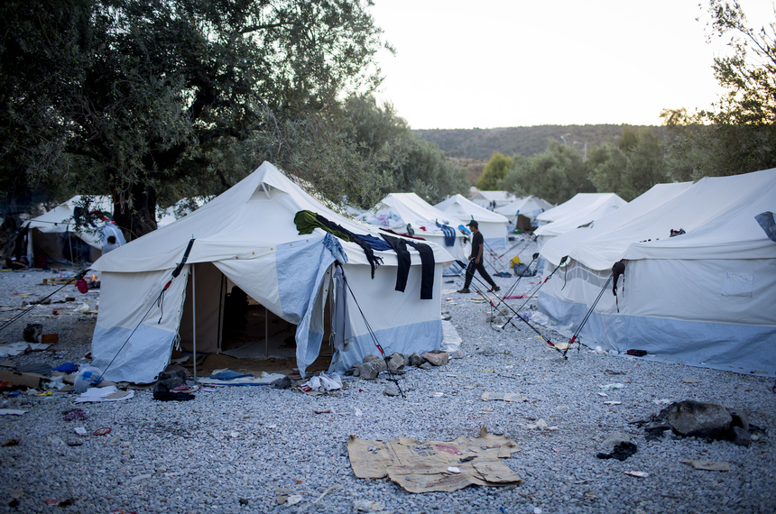 LESBOS, GREECE - SEPTEMBER 08:  Tents are seen at a refugee camp on the outskirts of Mytilini on September 8, 2015 in Lesbos, Greece. More than 230,000 people have landed on Greek shores this year, pushing the island of Lesbos to it's limits. (Photo by Eric Thayer/Getty Images)