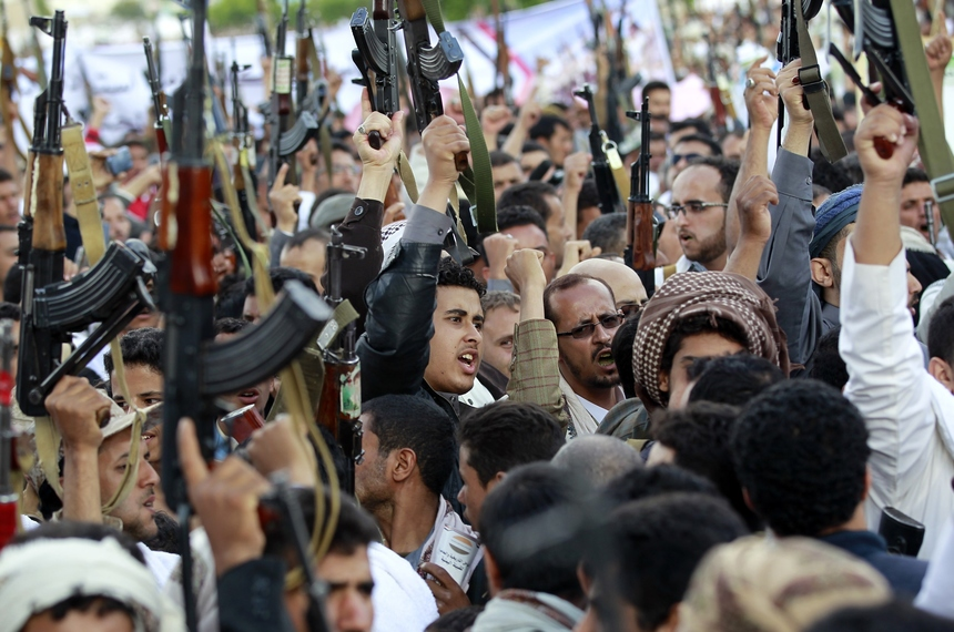 Shiite-Huthi supporters shout slogans during a protest in the Yemeni capital, Sanaa, against ongoing military operations carried out by the Saudi-led coalition and over claims that Saudi Arabia, home to Islam's holiest sites and host to the Hajj, was denying Yemenis the right to attend this year's pilgrimage on September 11, 2015.  AFP PHOTO / MOHAMMED HUWAIS        (Photo credit should read MOHAMMED HUWAIS/AFP/Getty Images)
