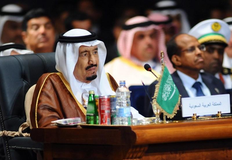 Saudi King Salman bin Abdulaziz al-Saud attends the Arab League summit in Egypt's Red Sea resort of Sharm El-Sheikh on March 28, 2015. AFP PHOTO/ STR        (Photo credit should read STR/AFP/Getty Images)