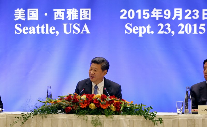 SEATTLE, WA - SEPTEMBER 23: Chinese President Xi Jinping speaks at a U.S.-China business roundtable, comprised of U.S. and Chinese CEOs on September 23, 2015, in Seattle, Washington. The Paulson Institute, in partnership with the China Council for the Promotion of International Trade, co-hosted the event. (Photo by Elaine Thompson-Pool/Getty Images)