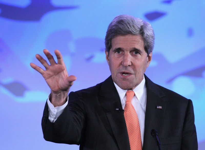 """WASHINGTON, DC - JUNE 17:  U.S. Secretary of State John Kerry speaks during the second and the final day of the """"Our Ocean"""" conference June 17, 2014 at the State Department in Washington, DC. The two-day conference was focused on """"sustainable fisheries, marine pollution, and ocean acidification.""""  (Photo by Alex Wong/Getty Images)"""