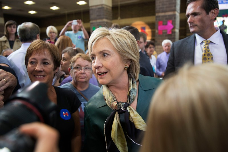 Hillary Clinton, former Secretary of State and 2016 Democratic presidential candidate, greets attendees after speaking at a campaign stop in Davenport, Iowa, U.S., on Tuesday, Oct. 6, 2015. Clinton is in the midst of one final round of visits to the key primary states ahead of the Oct. 13 debate in Las Vegas and, nine days later, her testimony before the Benghazi committee. Photographer: Daniel Acker/Bloomberg via Getty Images