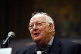 US-British microeconomist Angus Deaton speaks during a press conference after winning the Nobel Prize for Economics at Princeton University in Princeton, New Jersey, on October 12, 2015. Deaton won the Nobel Economics Prize for groundbreaking work using household surveys to show how consumers, particularly the poor, decide what to buy and how policymakers can help them. AFP PHOTO/JEWEL SAMAD        (Photo credit should read JEWEL SAMAD/AFP/Getty Images)