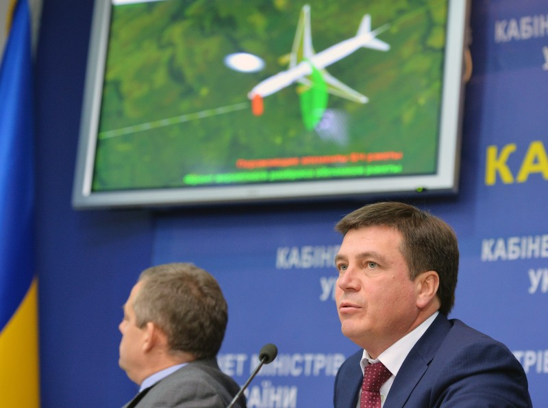 Ukrainian deputy Prime Minister Gennadiy Zubko gives a press conference to present the results of the criminal investigation of the MH17 crash in Kiev on October 13, 2015. The The Dutch-led probe concluded that the Malaysia Airlines flight, headed from Amsterdam to Kuala Lumpur, was shot down by a Russian-made BUK missile fired from war-torn eastern Ukraine. Ukrainian authorities should have closed the air space over the eastern region wracked by fighting with pro-Russian separatists, the official inquiry into the MH17 air disaster found today. AFP PHOTO/GENYA SAVILOV        (Photo credit should read GENYA SAVILOV/AFP/Getty Images)
