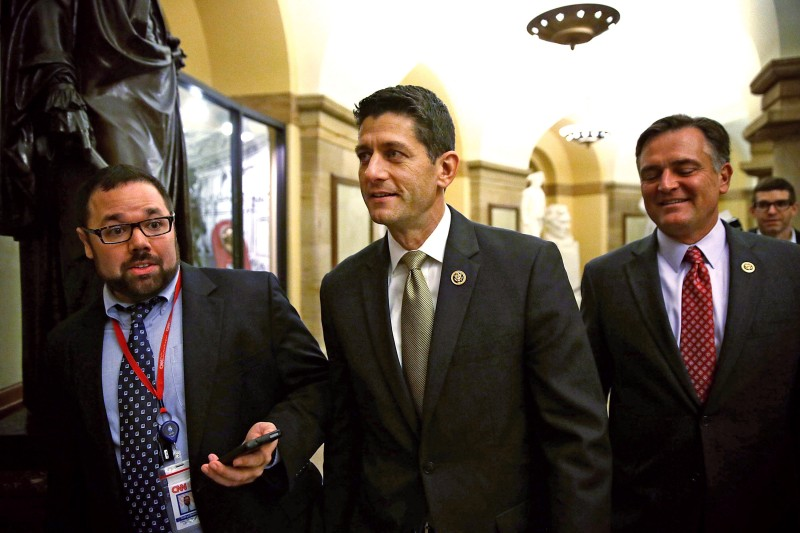 WASHINGTON, DC - OCTOBER 21:  U.S. Rep. Paul Ryan (R-WI) (C) leaves after a House Republican Conference meeting October 21, 2015 at the Capitol in Washington, DC. Rep. Ryan said he is open to running for Speaker of the House if the GOP will unify behind him.  (Photo by Alex Wong/Getty Images)