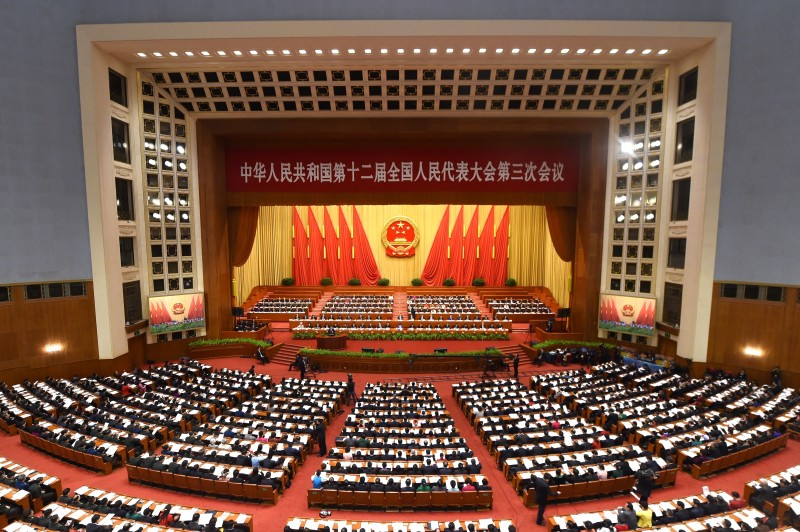 "A general view shows the third session of the 12th National People's Congress at the Great Hall of the People in Beijing on March 8, 2015.  China's Communist Party-controlled legislature, the National People's Congress (NPC), gathers in the capital for the annual show of political theater, with the ""rule of law"" high on the agenda.      AFP PHOTO / WANG ZHAO        (Photo credit should read WANG ZHAO/AFP/Getty Images)"