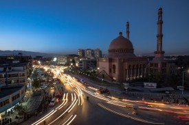 KABUL, AFGHANISTAN - NOVEMBER 18: Traffic moves past the Abdul Rahman Khan Great Mosque on November 18, 2012 in Kabul, Afghanistan. (Photo by Daniel Berehulak/Getty Images)