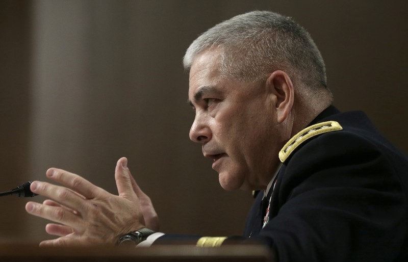 WASHINGTON, DC - FEBRUARY 12:  Army Gen. John Campbell, commander of the International Security Assistance Force, U.S. Forces-Afghanistan, testifies before the Senate Armed Services Committee February 12, 2015 in Washington, DC. The committee heard testimony on the current situation in Afghanistan during the hearing.   (Photo by Win McNamee/Getty Images)