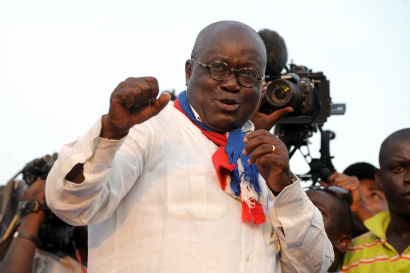 The presidential candidate of the opposition New Patriotic Party (NPP) Nana Akufo-Addo dances during the final rally of the party in Accra on December 5, 2012. Thousands converged on Ghana's capital as the country's two main political parties held final rallies ahead of presidential polls expected to be tight in the new oil-producing nation. The country will be seeking to live up to its potential in the election on December 7, 2012 as an example of stable democracy in West Africa, an often turbulent region that has seen more than its share of military coups and rigged votes. AFP PHOTO/PIUS UTOMI EKPEI        (Photo credit should read PIUS UTOMI EKPEI/AFP/Getty Images)