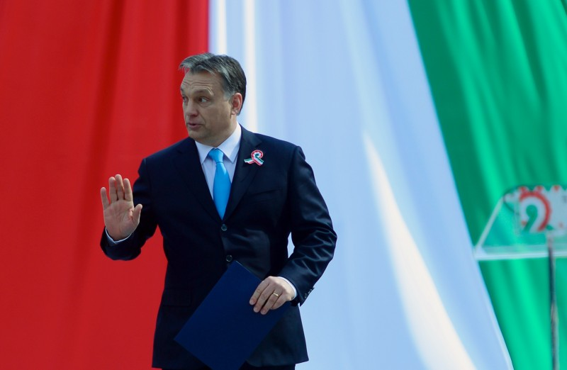 Hungarian Prime Minister Viktor Orban arrives to deliver a speech in front of the National Museum of Budapest on March 15, 2014  during the official commemoration of the 166th anniversary of the 1848-1849 Hungarian revolution and independence war. The revolution in the kingdom of Hungary grew into a war for independence from the Habsburg rule.  AFP PHOTO / ATTILA KISBENEDEK        (Photo credit should read ATTILA KISBENEDEK/AFP/Getty Images)