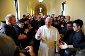 WYNNEWOOD, PA - SEPTEMBER 27:  Pope Francis greets seminarians as he walks the loggia to his address to the Bishops at St. Martin of Tours Chapel at Saint Charles Borromeo Seminary, September 27, 2015 in Wynnewwod, Pennsylvania. After visiting Washington and New York City, Pope Francis concludes his tour of the U.S. with events in Philadelphia on Saturday and Sunday. ((Photo by Tom Gralish-Pool/Getty Images)