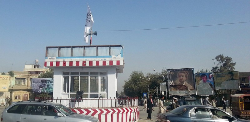 A Taliban flag flutters over the main traffic roundabout a day after the insurgents overran the strategic northern city of Kunduz, on September 29, 2015.  Afghanistan on September 29, 2015, mobilised reinforcements for a counter-offensive to take back Kunduz, a day after Taliban insurgents overran the strategic northern city in their biggest victory since being ousted from power in 2001.   AFP PHOTO        (Photo credit should read STR/AFP/Getty Images)