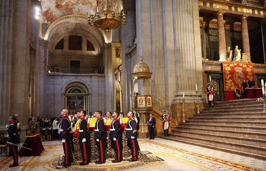 SAN LORENZO DE EL ESCORIA, SPAIN - OCTOBER 08: A general view in the El Escorial Monastery for a Corpore Insepulto Mass of Spain's Duke of Calabria, Carlos de Borbon Dos Sicilias on October 8, 2015 in San Lorenzo de El Escorial, Spain. Carlos de Borbon was born in 1938 and attended school with King Juan Carlos, where they became very good friends. He ranked first in the line of succession after the descendants of Don Juan Carlos and Queen Sofia.  (Photo by Juan Carlos Hidalgo - Pool/Getty Images)