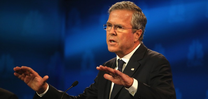 BOULDER, CO - OCTOBER 28:  Presidential candidate Jeb Bush speaks during the CNBC Republican Presidential Debate at University of Colorados Coors Events Center October 28, 2015 in Boulder, Colorado.  Fourteen Republican presidential candidates are participating in the third set of Republican presidential debates.  (Photo by Justin Sullivan/Getty Images)