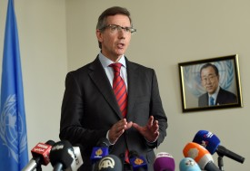 United Nations envoy Bernardino Leon speaks during a press conference on October 21, 2015 in Tunis. Leon insisted that efforts to clinch a political deal to end rampant insecurity in Libya will carry on although several parties have rejected his proposals. AFP PHOTO / FETHI BELAID        (Photo credit should read FETHI BELAID/AFP/Getty Images)