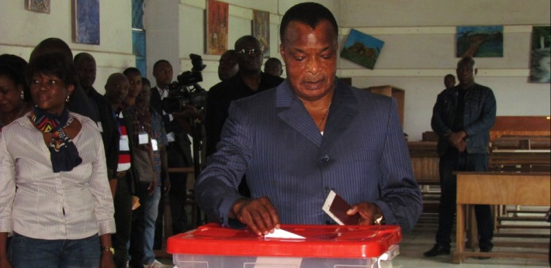 Congolese President Denis Sassou Nguessou casts his ballot on October 25, 2015 in Brazzaville. People in the Republic of Congo began voting in a referendum today on whether longtime President Denis Sassou Nguesso can seek a third term in office that has sparked clashes in the oil-producing country.  AFP PHOTO        (Photo credit should read -/AFP/Getty Images)