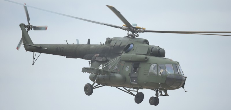 ZAGAN, POLAND - JUNE 18:  A Polish Army MI-8 helicopter participates in the NATO Noble Jump military exercises of the VJTF forces on June 18, 2015 in Zagan, Poland. The VJTF, the Very High Readiness Joint Task Force, is NATO's response to Russia's annexation of Crimea and the conflict in eastern Ukraine. Troops from Germany, Norway, Belgium, Poland, Czech Republic, Lithuania and Holland were among those taking part today.  (Photo by Sean Gallup/Getty Images)