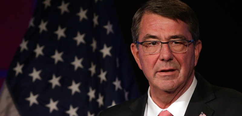 """WASHINGTON, DC - NOVEMBER 18:  U.S. Secretary of Defense Ashton Carter addresses the faculty and students of George Washington University November 18, 2015 in Washington, DC. Carter discussed the """"Force of the Future"""" initiative, which will consist of """"multiple elements, each with creative and modern proposals designed to help recruit and retain the best men and women our nation has to offer.""""  (Photo by Alex Wong/Getty Images)"""