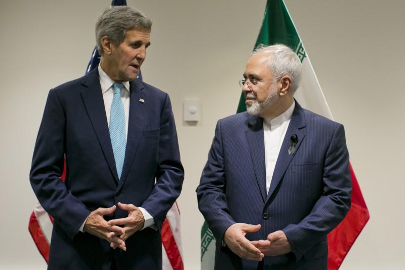 United States Secretary of State John Kerry poses with Foreign Affairs Minister of Iran Javad Zarif during a bilateral talk at the United Nations headquarters on September 26, 2015, at the United Nations in New York. AFP PHOTO/Dominick Reuter        (Photo credit should read DOMINICK REUTER/AFP/Getty Images)