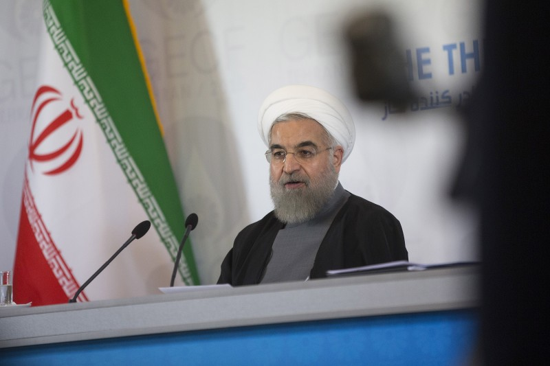 Hassan Rouhani, Iran's president, speaks during a news conference at the Gas Exporting Countries Forum (GECF) summit in Tehran, Iran, on Monday, Nov. 23, 2015. The talks between Putin, on his first visit to Iran since 2007, and Iran's Supreme Leader Ayatollah Ali Khamenei focused on the situation in Syria, where both Russia and Iran back Syrian President Bashar al-Assad, as well as the wider region. Photographer: Simon Dawson/Bloomberg via Getty Images