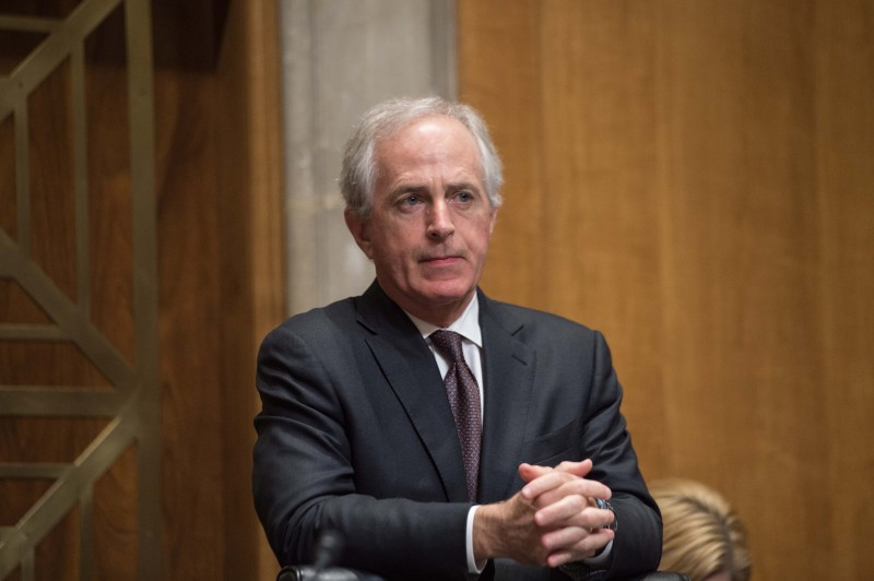 US Republican Senator from Tennessee Bob Corker, chairman of  the Senate Committee on Foreign Relations, listens to a speaker during a hearing on the Iran nuclear deal on Capitol Hill in Washington, DC, on December 17, 2015.   AFP PHOTO/NICHOLAS KAMM / AFP / NICHOLAS KAMM        (Photo credit should read NICHOLAS KAMM/AFP/Getty Images)