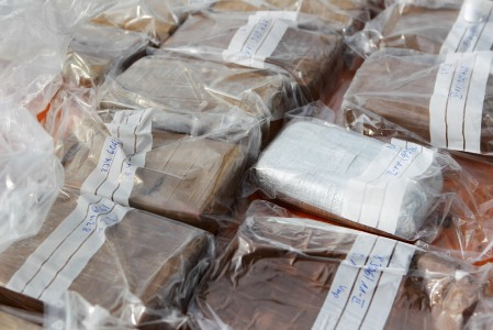 HAMBURG, GERMANY - MARCH 07: Packages containing confiscated cocaine are seen at a press conference on March 4, 2012 in Hamburg, Germany. Agents seized 260 kg of cocaine aboard the 'Tasman Mermaid', a ship that originated from Ecuador, after searching the vessel upon its arrival in Hamburg port in November, 2011. (Photo by Joern Pollex/Getty Images)