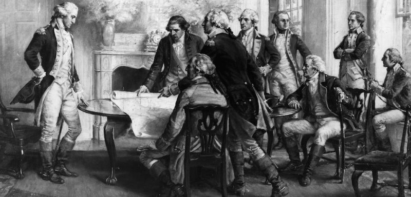 August 1776:  Council of War in the house of Mr Philip Livingstone in Brooklyn, after the Battle of Long Island.  At that time George Washington's headquarters were in various houses in the area giving rise to the phrase,' Washington slept here'.  (Photo by Three Lions/Getty Images)