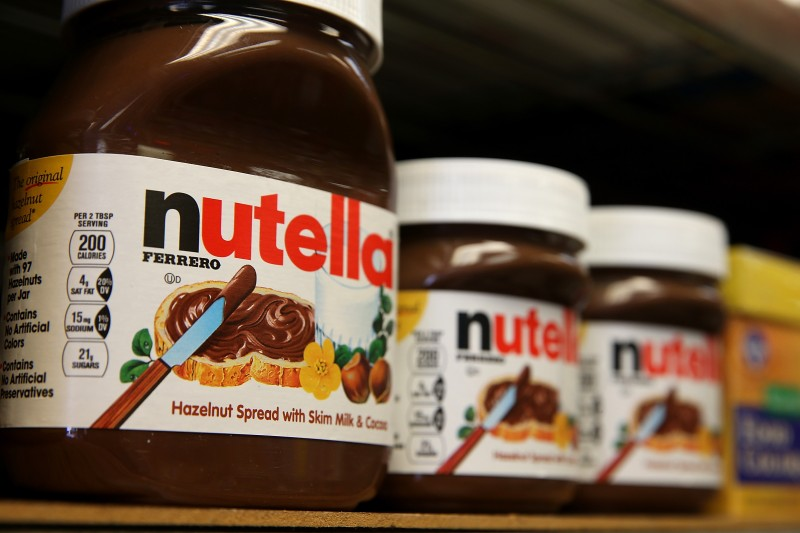 SAN FRANCISCO, CA - AUGUST 18:  Jars of Nutella are displayed on a shelf at a market on August 18, 2014 in San Francisco, California.  The threat of a Nutella shortage is looming after a March frost in Turkey destroyed nearly 70 percent of the hazelnut crops, the main ingredient in the popular chocolate spread. Turkey is the largest producer of hazelnuts in the world.  (Photo by Justin Sullivan/Getty Images)