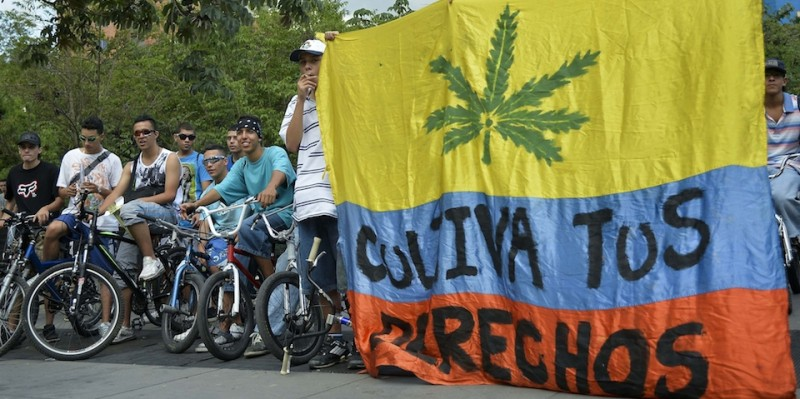 Young men take part in the third world bicycle ride against drug trafficking and in favor of the legalization of self-cultivation of marijuana for medicinal and recreational purposes in Medellin, Antioquia department, Colombia on October 4, 2014.  AFP PHOTO/Raul ARBOLEDA        (Photo credit should read RAUL ARBOLEDA/AFP/Getty Images)