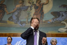 New High Commissioner of the United Nations (UN) for Human Rights, Zeid Ra'ad al-Hussein of Jordan, gestures after a press conference on October 16, 2014 in Geneva. AFP PHOTO / FABRICE COFFRINI        (Photo credit should read FABRICE COFFRINI/AFP/Getty Images)