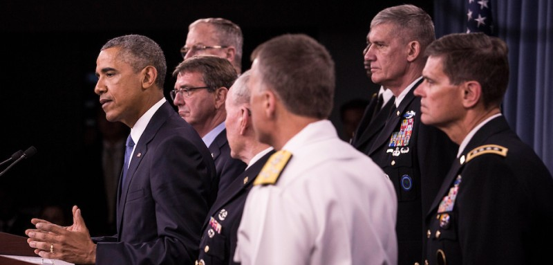 ARLINGTON, VA - JULY 6:  (AFP OUT) U.S. President Barack Obama delivers remarks after meeting with members of his national security team concerning ISIS at the Pentagon July 6, 2015 in Arlington, Virginia.  Obama announced the U.S. military is making progress against the Islamic State in Iraq and Syria. (Photo by Drew Angerer - Pool/Getty Images)