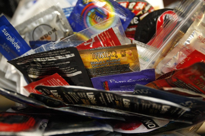 Condoms to be distributed Freida Downey, aka Caped  Condom Crusader. (Matt Goins/Lexington Herald-Leader/MCT via Getty Images)