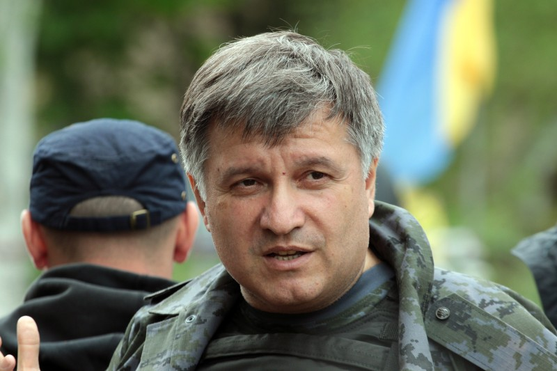 Ukraine's Interior Minister Arsen Avakov stands at a checkpoint near the eastern Ukrainian city of Slavyansk on May 5, 2014. Four Ukrainian troops were killed and 30 wounded in intense fighting around the rebel-held town of Slavyansk on May 5, the interior ministry said. The ministry added that the pro-Russian gunmen controlling the town were using civilians as human shields and were shooting from houses, some of which were on fire. It said there were civilian casualties but did not provide a toll. AFP PHOTO / SERGEY BOBOK        (Photo credit should read SERGEY BOBOK/AFP/Getty Images)