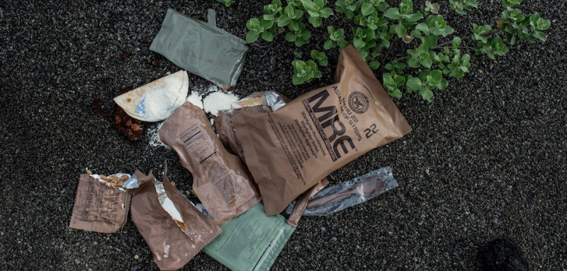IWOJIMA, TOKYO, JAPAN - MAY 14: An MRE pack is seen washed up on Invasion beach on Iwo Jima Island during Field Carrier Landing Practice for the Carrier Air Wing 5 of U.S. Naval Air Facility Atsugi on May 14, 2014 in Iwojima, Tokyo, Japan. The Iwo Jima Island is the setting of the World War II Battle of Iwo Jima between the United States and Japan in 1945. Civilian access to the island is restricted to memorial attendees, workers for the naval air base, and meteorological agency officials.  (Photo by Chris McGrath/Getty Images)