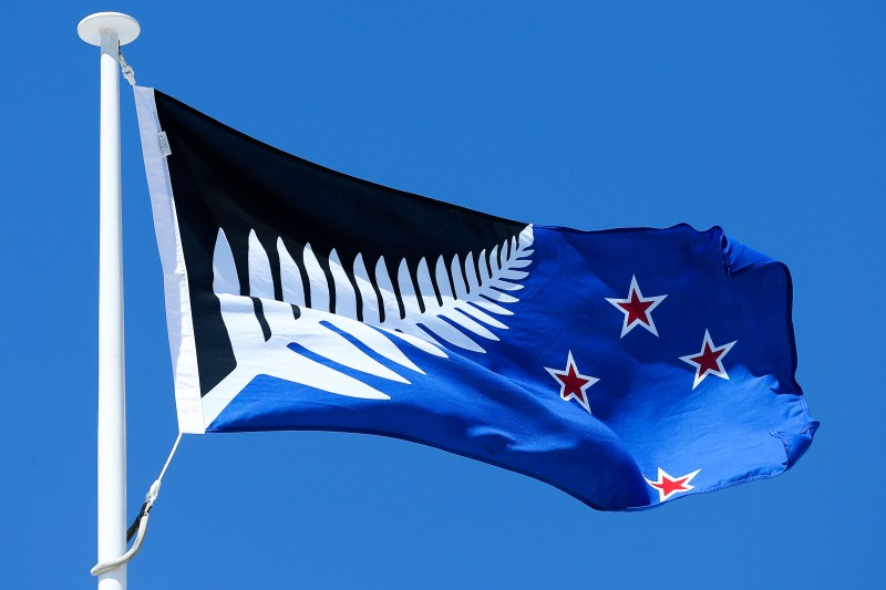 WELLINGTON, NEW ZEALAND - OCTOBER 12:  Silver Fern (Black, White and Blue), by Kyle Lockwood, flies on top of the Wellington Town Hall on October 12, 2015 in Wellington, New Zealand. The Flag Consideration Panel has narrowed down to the five flags which will then go to referendum later this year.  (Photo by Hagen Hopkins/Getty Images)