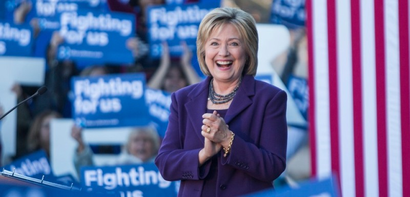 CONCORD, NH - NOVEMBER 09:  Democratic presidential candidate Hillary Clinton on stage during a rally after filing paperwork for the New Hampshire primary at the State House on November 9, 2015 in Concord, New Hampshire. Each candidate must file paperwork to be on the New Hampshire primary ballot, which will be held February 9, 2016.  (Photo by Scott Eisen/Getty Images)