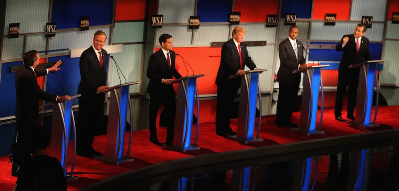 MILWAUKEE, WI - NOVEMBER 10:  Presidential candidates Ohio Governor John Kasich (L-R), speaks while Jeb Bush, Sen. Marco Rubio (R-FL), Donald Trump, Ben Carson, and Ted Cruz (R-TX) take part in the Republican Presidential Debate sponsored by Fox Business and the Wall Street Journal at the Milwaukee Theatre November 10, 2015 in Milwaukee, Wisconsin. The fourth Republican debate is held in two parts, one main debate for the top eight candidates, and another for four other candidates lower in the current polls.  (Photo by Scott Olson/Getty Images)