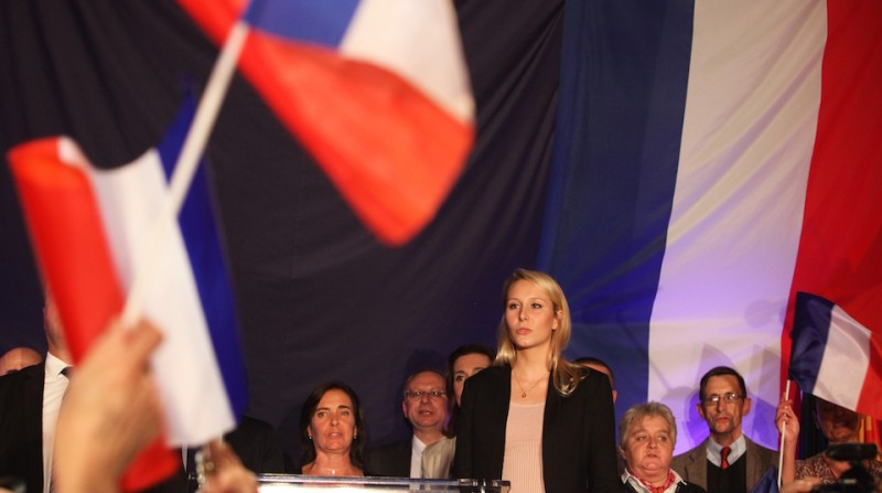 AVIGNON, FRANCE - DECEMBER 06: Marion Marechal Le Pen, vice-president of the French far-right Front National (FN) party and candidate for the regional elections in the Provence-Alpes-Cote d'Azur (PACA) region, speaks to supporters after the annoucement of the results on December 6, 2015 in Avignon, France. Marion Marechal Le Pen has won the first round of the regional election with a reported 40,2 percent of the vote. (Photo by Patrick Aventurier/Getty Images)