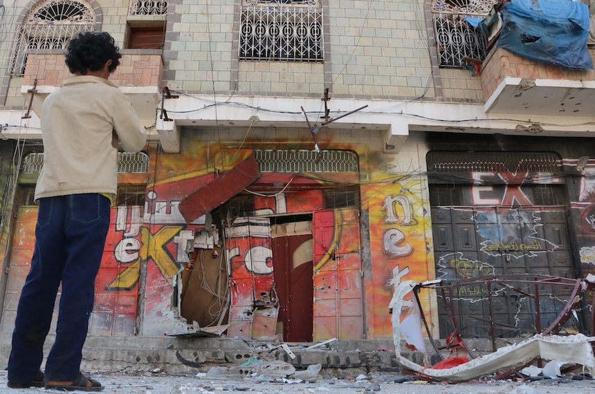 TAIZ, YEMEN - DECEMBER 08: Damaged building is seen after the clashes between Houthis and Yemen's former President, Ali Abdullah Saleh's forces in Taiz, Yemen on December 08, 2015. (Photo by Abdunnaser Saddek /Anadolu Agency/Getty Images)