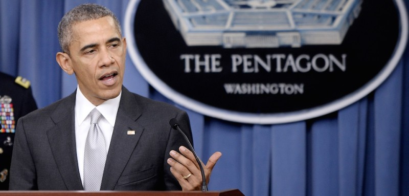 ARLINGTON, VA - DECEMBER 14:  (AFP OUT) U.S. President Barack Obama delivers a statement on the counter-ISIL campaign in the Pentagon briefing room December 14, 2015 in Arlington, Virginia. President Obama met previously with a National Security Council on the counter-ISIL campaign. (Photo by Olivier Douliery-Pool/Getty Images)