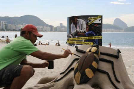 A beach artist gives the final touches to a sand sculpture of the Chagas disease's vector, the 'assassin bug' ('barbeiro' in Portuguese), during a demonstration July 9, 2009 at Copacabana Beach, Rio de Janeiro, Brazil, commemorating the 100th anniversary of the discovery of the disease. The International organization Medecins Sans Frontieres and Brazil's 'Iniciativa Medicamentos Para Doencas Negligenciadas' and Fiocruz are trying to raise the people's consciousness about the danger of the disease also in cities as New York, Barcelona and Geneve. AFP PHOTO/VANDERLEI ALMEIDA (Photo credit should read VANDERLEI ALMEIDA/AFP/Getty Images)