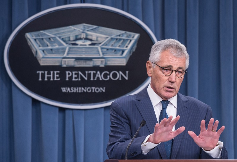 Outgoing US Defense Secretary Chuck Hagel speaks to the press at the Pentagon in Washington,DC on January 22, 2015.   AFP PHOTO/NICHOLAS KAMM        (Photo credit should read NICHOLAS KAMM/AFP/Getty Images)