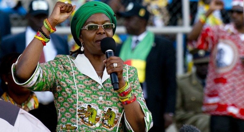 Zimbabwean President's wife, Grace Mugabe raises her fist as she addresses at a rally in Harare on July 28, 2013. Zimbabweans go to the polls on July 31 to choose between veteran President Robert Mugabe and long-time rival Morgan Tsvangirai. AFP PHOTO / ALEXANDER JOE        (Photo credit should read ALEXANDER JOE/AFP/Getty Images)