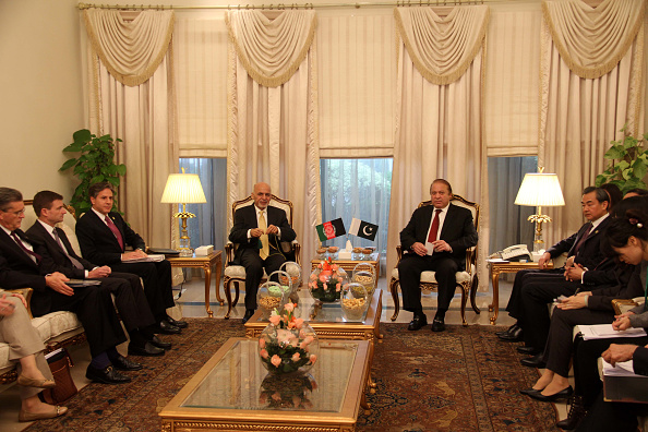 """ISLAMABAD, Dec. 9, 2015 -- Afghan President Ashraf Ghani, Pakistani Prime Minister Nawaz Sharif, Chinese Foreign Minister Wang Yi, and U.S. Deputy Secretary of State Antony Blinken attend a 2+2 meeting on the sidelines of the ongoing fifth foreign ministers' conference of the Istanbul Process on Afghanistan in Islamabad, capital of Pakistan, on Dec. 9, 2015. Chinese Foreign Minister Wang Yi said here Wednesday that China is willing to see the United States play a """"positive and constructive"""" role in Afghanistan's peace process. (Xinhua via Getty Images)"""