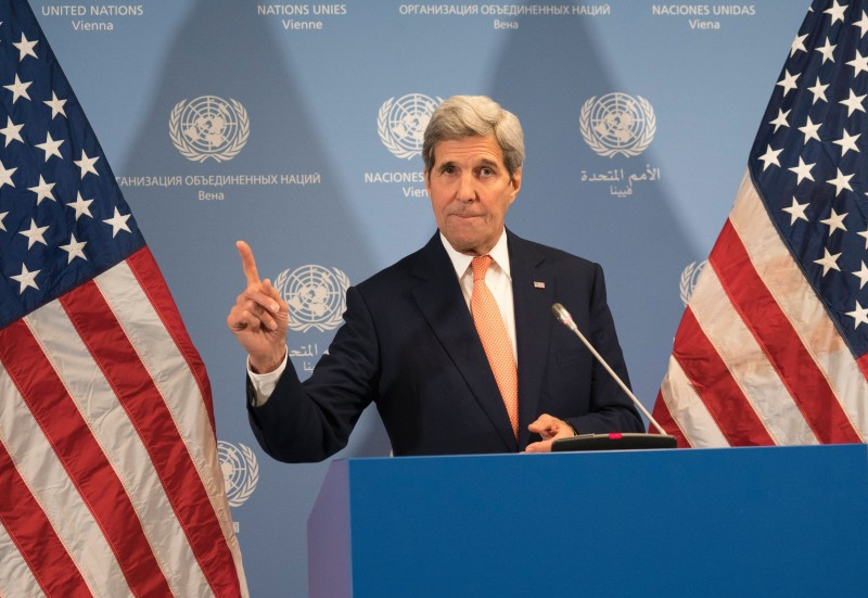 US Secretary of State John Kerry gestures during a press conference at the E3/EU+3 and Iran talks at the International Atomic Energy Agency headquarters in Vienna on January 16, 2016. The historic nuclear accord between Iran and major powers entered into force as the UN confirmed that Tehran has shrunk its atomic programme and as painful sanctions were lifted on the Islamic republic. / AFP / JOE KLAMAR        (Photo credit should read JOE KLAMAR/AFP/Getty Images)