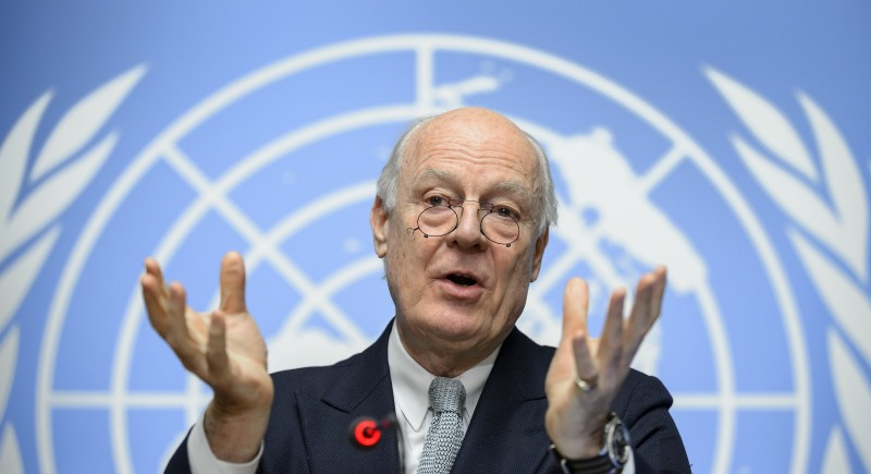UN Syria envoy Staffan De Mistura gestures at the United Nations Offices on January 25, 2016 in Geneva during a press conference on efforts to restart peace talks. The negotiations had been scheduled to open on January 25, but disputes between Damascus and the opposition over the make up of the delegations have raised the prospect of a delay. / AFP / FABRICE COFFRINI        (Photo credit should read FABRICE COFFRINI/AFP/Getty Images)