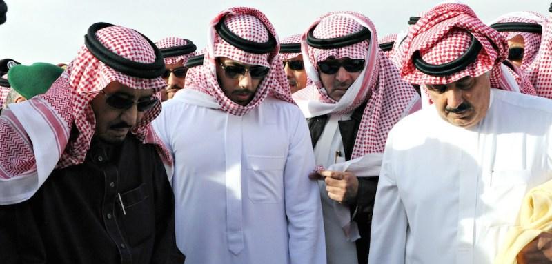 RIYADH, SAUDI ARABIA - JANUARY 23 : The new King Salman bin Abdulaziz al-Saud (L) attends the burying ceremony of the late Saudi King, Abdullah bin Abdulaziz al-Saud, at Al Oud cemetery in Riyadh, Saudi Arabia, on January 23, 2015.  (Photo by )